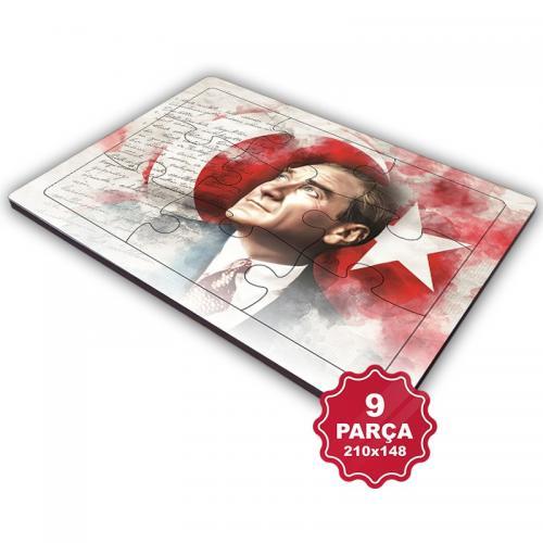 Atatürk 9 Parça Küçük Ahşap Puzzle Model 7