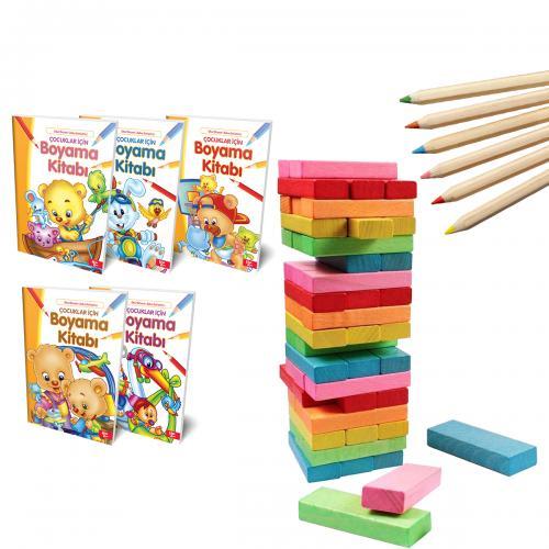 Renkli Denge Oyunu Seti + Boya Kalemi - -Halkkitabevi