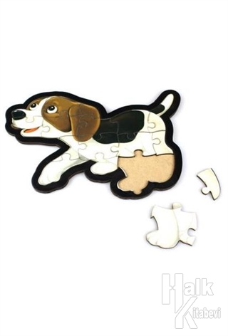 Beyaz Köpek Ahşap Puzzle 16 Parça