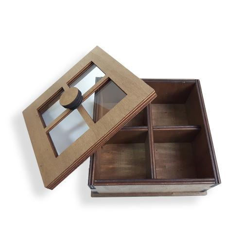 Cam Pencereli Çok Amaçlı Ahşap Kutu