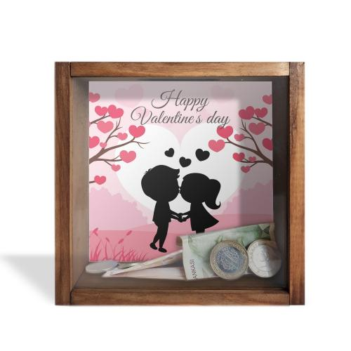 Camlı Ahşap Kumbara Happy Valentine's Day
