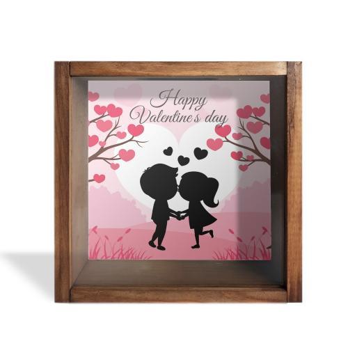 Camlı Ahşap Kumbara Happy Valentine's Day - -Halkkitabevi