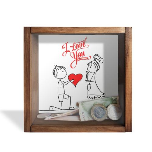 Camlı Ahşap Kumbara I Love You