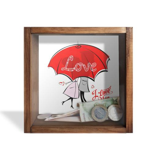 Camlı Ahşap Kumbara Kırmızı Şemsiyeli Love