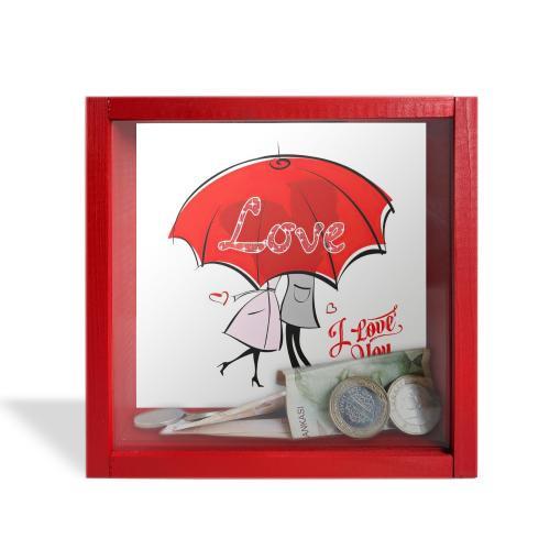 """Camlı Ahşap Kumbara Kırmızı Şemsiyeli Love """"Kırmızı"""""""