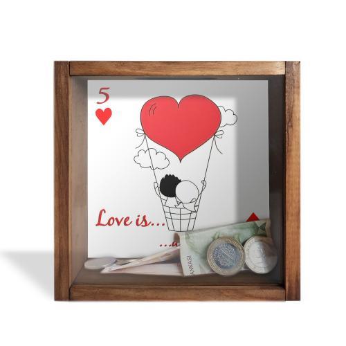 Camlı Ahşap Kumbara Love is A Journey - -Halkkitabevi