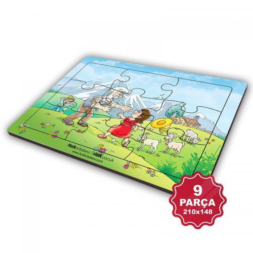 Çocuk Klasikleri 9 Parça Küçük Ahşap Puzzle Model 7