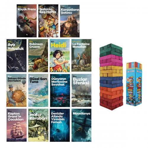 Çok Sevilen Çocuk Romanları Seti - 15 Kitap ve Renkli Denge Oyunu