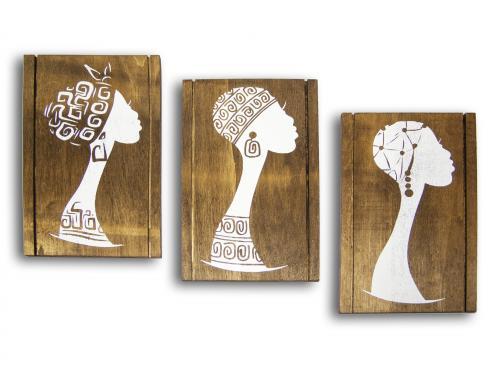 Ahşap Afrikalı Kadın Figürlü Tablo Set HK960 - -Halkkitabevi