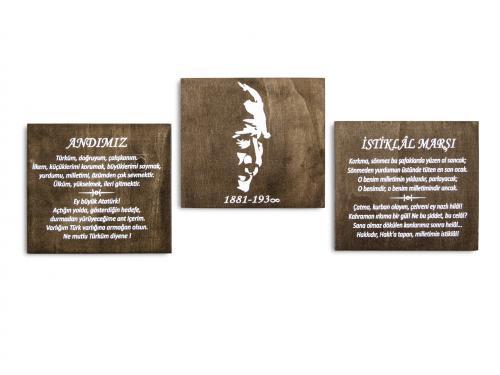 Ahşap Atatürk - Andımız - İstiklal Marşı Tablo Set HK963 %17 indirimli
