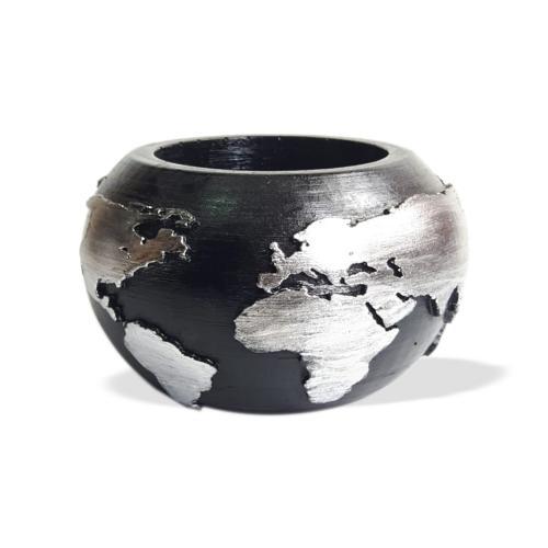 Dünya Desenli Beton Saksı Siyah Gümüş Büyük Boy