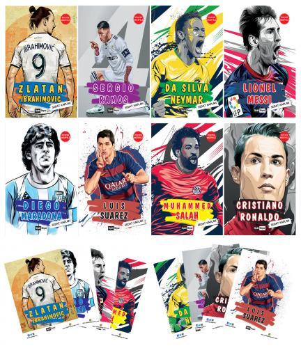Futbolcular Seti (8 Kitap 8 Poster) - Sedat Kaplan -Halkkitabevi