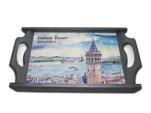 Galata Kulesi Temalı Ahşap Tepsi HK-62 - -Halkkitabevi