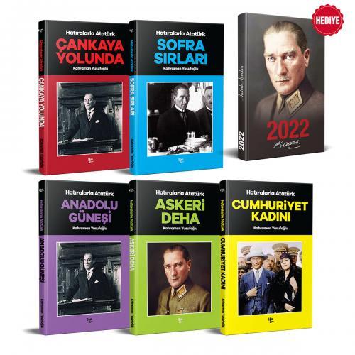 Hatıralarla Atatürk Seti - 5 Kitap ve 2022 Atatürk Ajanda Önder - Siyah