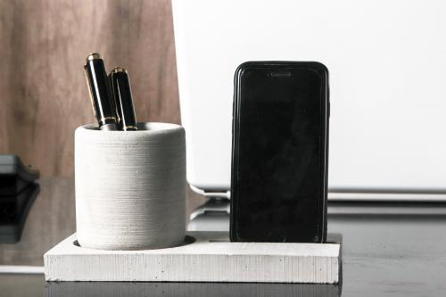 HK Dekor 2'li Beton Kalemlik ve Telefon Tutucu