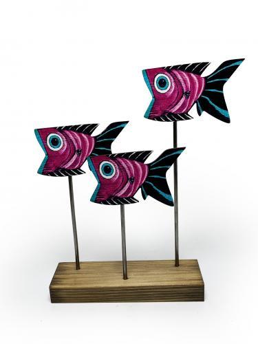 Ahşap Dekoratif Ayaklı Ağzı Açık Balıklar - -Halkkitabevi