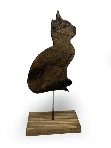 Dekoratif Ahşap Kedi Figürü