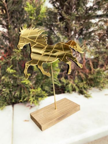 Dekoratif Aynalı Ahşap At - Altın - -Halkkitabevi