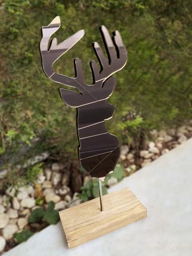Dekoratif Aynalı Ahşap Geyik - Bronz - -Halkkitabevi