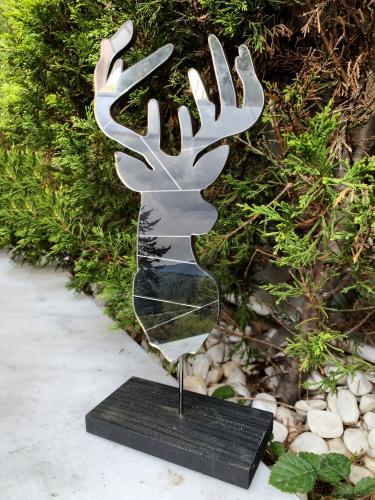 Dekoratif Aynalı Ahşap Geyik - Gümüş