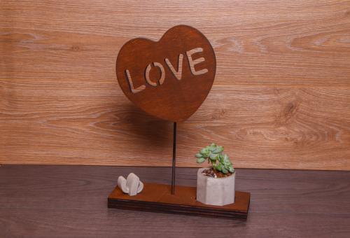 HK Dekor Love Standlı Beton Saksı - -Halkkitabevi