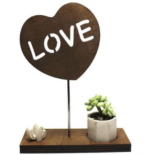 Kalp Love, Altıgen Beton Saksı ve Beton Kaktüs
