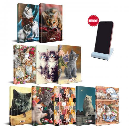 Kedi Temalı Süresiz Planlama Defter Seti - 10 Defter ve Beton Telefon Standı