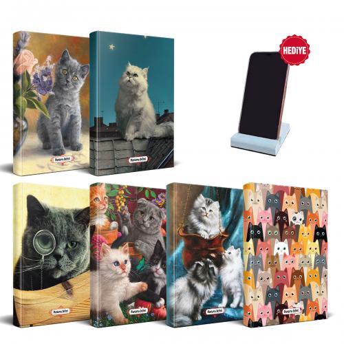 Kedi Temalı Süresiz Planlama Defter Seti - 6 Defter ve Beton Telefon Standı