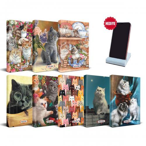 Kedi Temalı Süresiz Planlama Defter Seti - 8 Defter ve Beton Telefon Standı