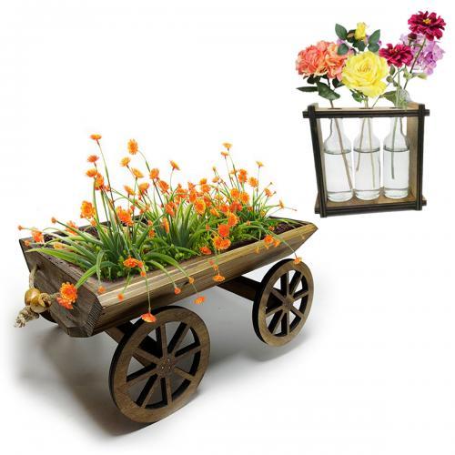 Saksılarda Şenlik Seti - Küçük Kağnı Çiçeklik ve Cam Şişe Saksı