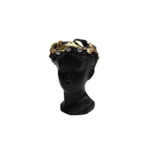 Küçük Helen Beton Saksı, Siyah Altın Varak Taçlı, Kristal Taşlı