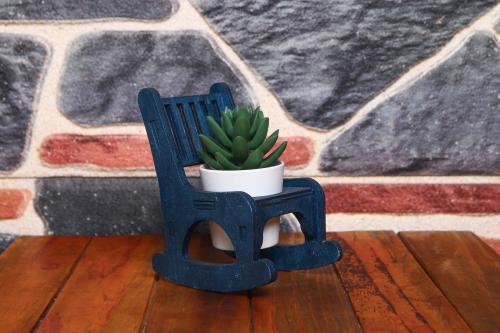 HK Dekor Lora Sallanan Sandalye Çiçeklik - Lacivert