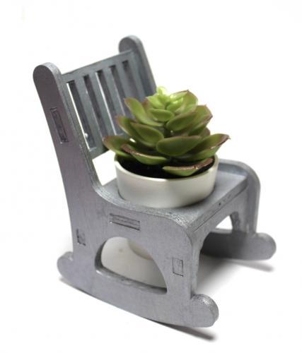 Lora Beton Saksılı Sallanan Sandalyeli Çiçeklik, Gümüş