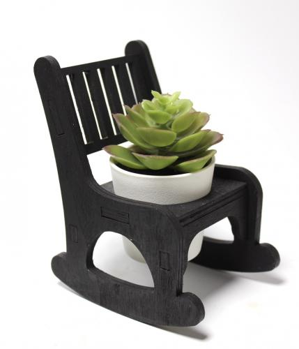 Lora Beton Saksılı Sallanan Sandalyeli Çiçeklik, Siyah
