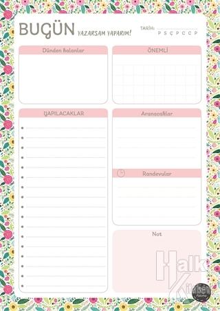 Süresiz Günlük Planlayıcı - Çiçek Desenli